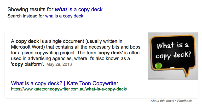 Featured snippet Kate Toon
