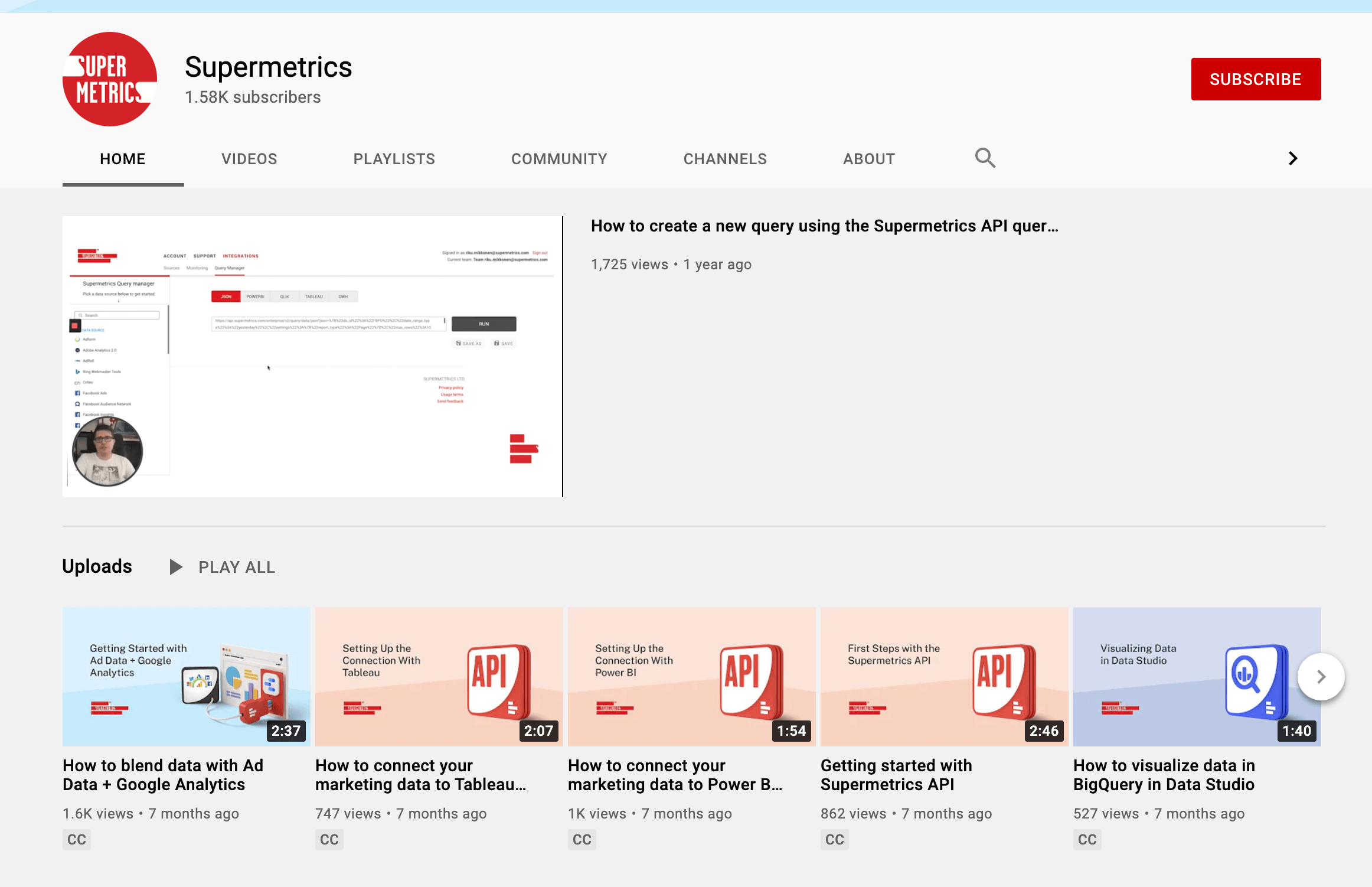 Supermetrics YouTube Channel